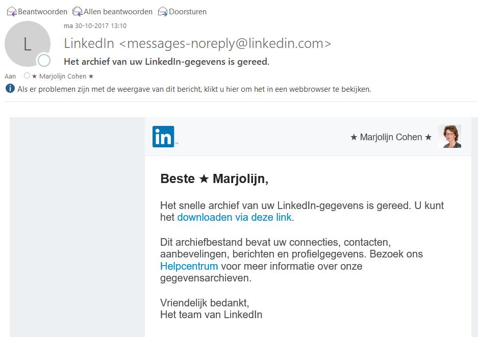 LinkedIn e-mail download gereed