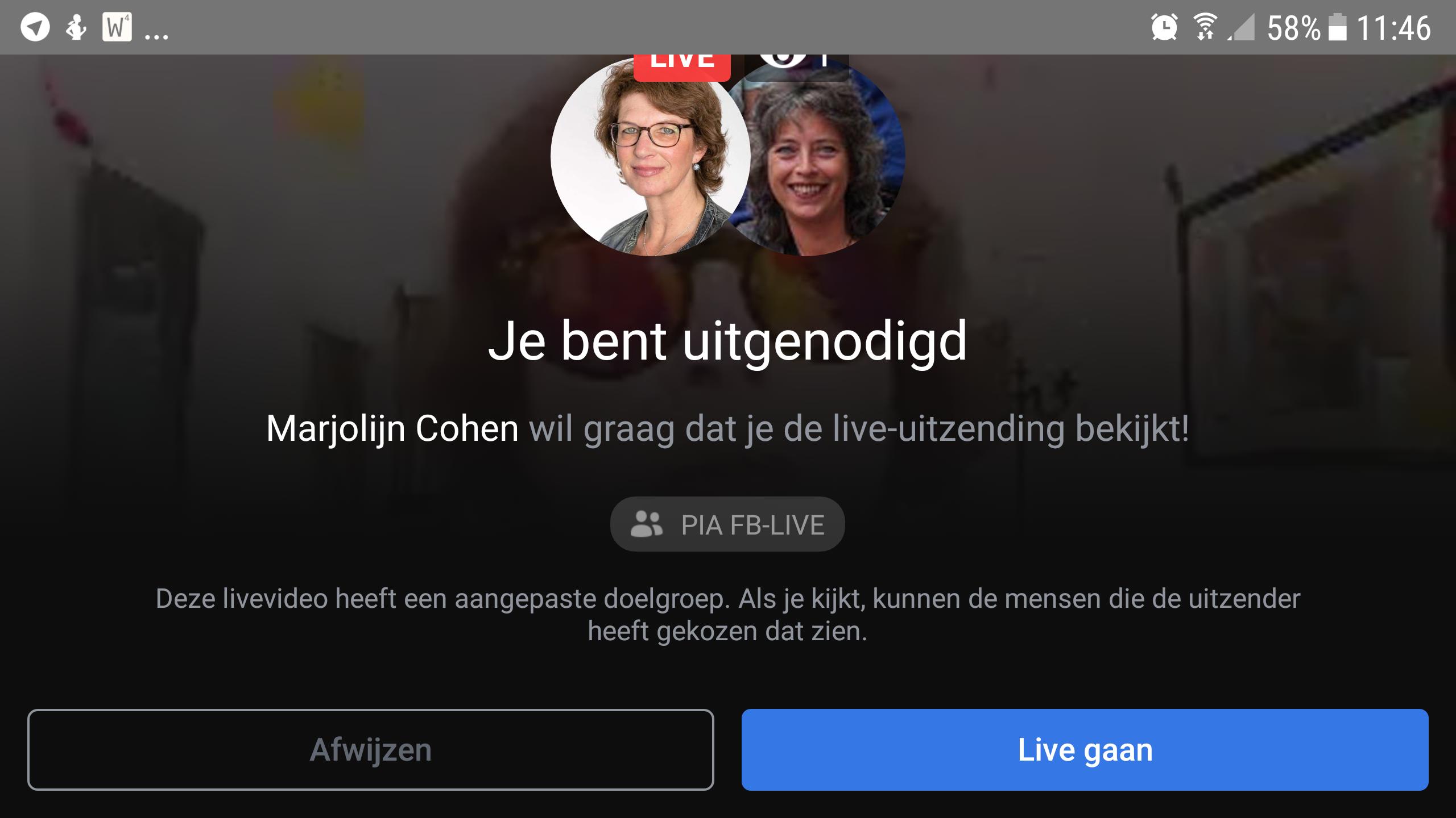 Screenshot Je bent uitgenodigd